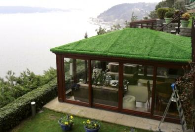 Aplicación de cubierta tejado de valla de césped